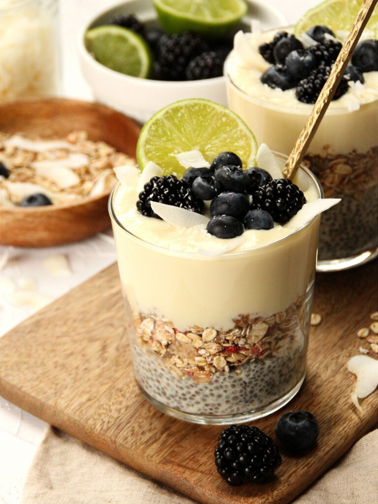 Chia pudding met kokos en limoen