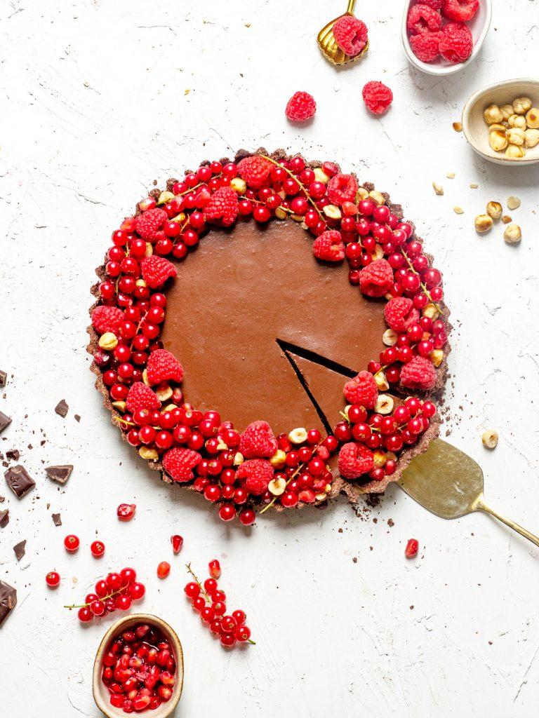 Gezondere chocolademousse taart met frambozen