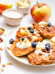 Gezonde appel kwark pannenkoeken