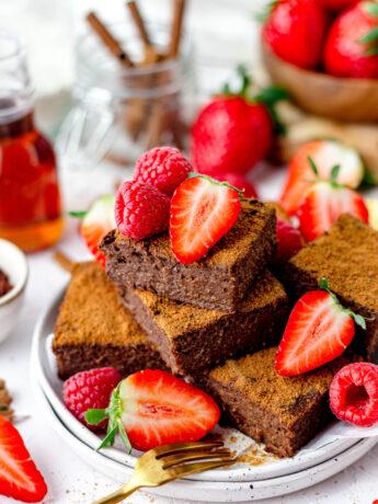 Gezonde fudgy pompoen brownies