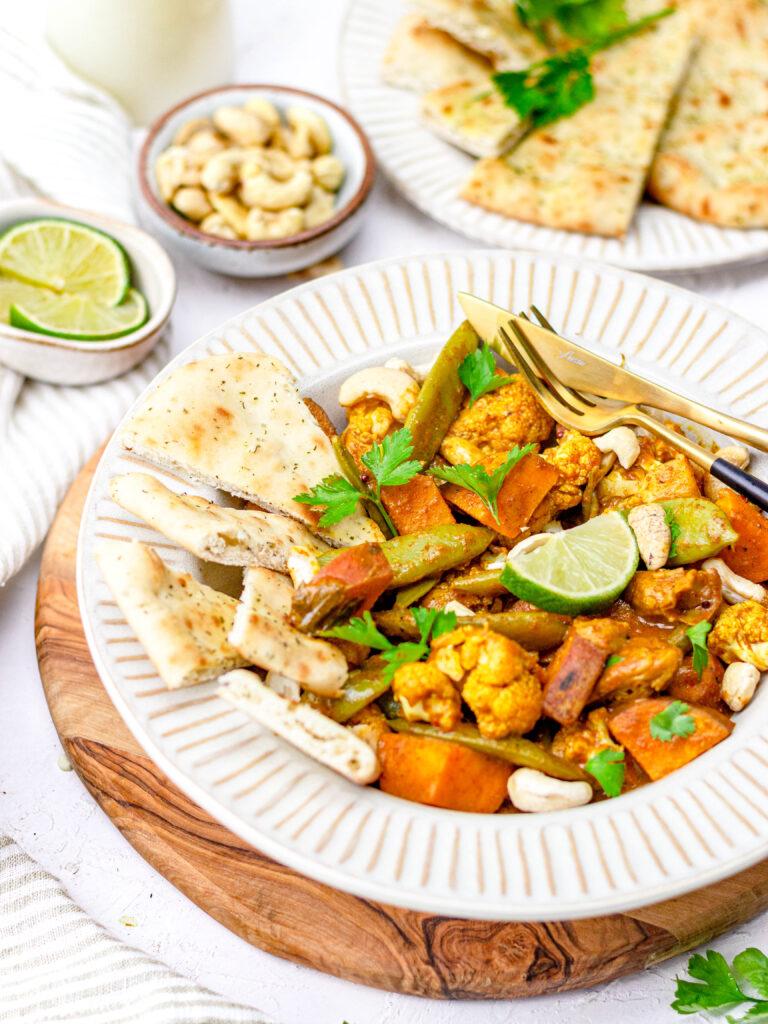 Curry madras met zoete aardappel & kip