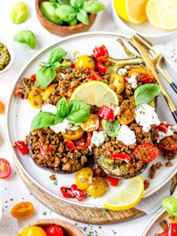 Gezonde Italiaanse aubergine ovenschotel