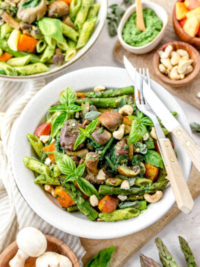 Pasta pesto met groene asperges
