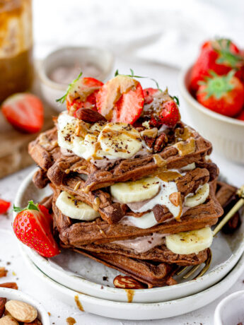 Gezonde chocolade wafels met pindakaas